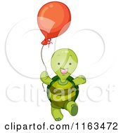 Cartoon Of A Happy Turtle With A Balloon Royalty Free Vector Clipart by BNP Design Studio