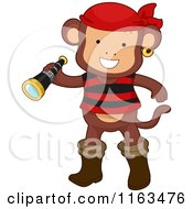 Cartoon Of A Monkey Pirate Holding A Telescope Royalty Free Vector Clipart