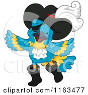 Cartoon Of A Blue Parrot Pirate With An Eye Patch And Hat Royalty Free Vector Clipart