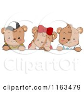 Cartoon Of Cute Bear Kids Over A Blank Sign Royalty Free Vector Clipart by BNP Design Studio