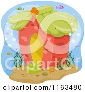 Cartoon Of A Sea House Underwater Royalty Free Vector Clipart by BNP Design Studio