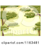 Cartoon Of A Background Of Trees And Hills With Copyspace Royalty Free Vector Clipart