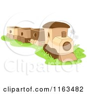 Cartoon Of A Wood Toy Train Royalty Free Vector Clipart