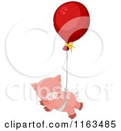 Cartoon Of A Pink Pig Floating From A Balloon Royalty Free Vector Clipart