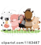 Cartoon Of A Group Of Happy Farm Animals Standing Royalty Free Vector Clipart