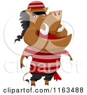 Cartoon Of A Boar Pirate Royalty Free Vector Clipart
