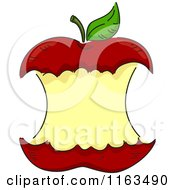 Cartoon Of A Red Apple Core With Copyspace Royalty Free Vector Clipart