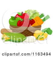 Cartoon Of A Basket Of Produce Royalty Free Vector Clipart by BNP Design Studio