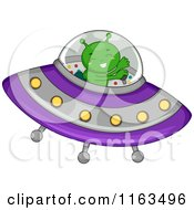 Cartoon Of A Green Alien Flying A Ufo Royalty Free Vector Clipart