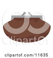Brown Clutch Bag Purse With A Snap Close Clipart Picture