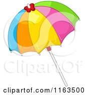 Cartoon Of A Colorful Beach Umbrella Royalty Free Vector Clipart by BNP Design Studio