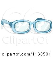 Cartoon Of A Pair Of Blue Glasses Royalty Free Vector Clipart by BNP Design Studio