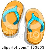 Cartoon Of A Pair Of Orange And Blue Flip Flops Royalty Free Vector Clipart