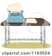 Cartoon Of A Typewriter And Paper On A Table Royalty Free Vector Clipart by BNP Design Studio