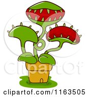 Cartoon Of A Potted Venus Fly Trap Plant Royalty Free Vector Clipart