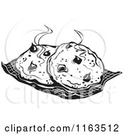 Clipart Of Black And White Fresh Hot Cocolate Chip Cookies Royalty Free Vector Illustration by Andy Nortnik