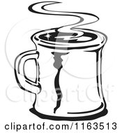 Clipart Of A Retro Black And White Steamy Mug Of Coffee Royalty Free Vector Illustration