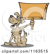 Cartoon Of A Happy Dog Mascot Holding Up A Sign Royalty Free Vector Clipart
