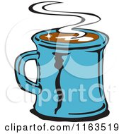 Clipart Of A Retro Blue Steamy Mug Of Coffee Royalty Free Vector Illustration