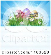 Clipart Of Sunshine Easter Eggs And Flowers Over Ruled Paper Copy Space Royalty Free Vector Illustration by MilsiArt
