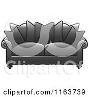 Clipart Of A Gray Sofa With Couch Pillows Royalty Free Vector Illustration