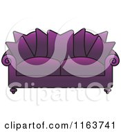 Clipart Of A Purple Sofa With Couch Pillows Royalty Free Vector Illustration