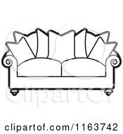 Clipart Of A Black And White Sofa With Couch Pillows Royalty Free Vector Illustration