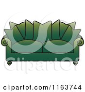 Clipart Of A Green Sofa With Couch Pillows Royalty Free Vector Illustration