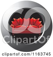 Clipart Of A Red Couch Icon Royalty Free Vector Illustration