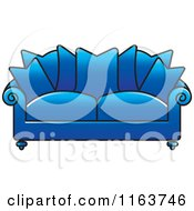 Clipart Of A Blue Sofa With Couch Pillows Royalty Free Vector Illustration