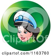 Clipart Of A Green Female Security Guard Icon Royalty Free Vector Illustration by Lal Perera