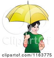 Clipart Of A Happy Woman With A Yellow Umbrella Royalty Free Vector Illustration by Lal Perera