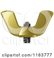 Clipart Of A Gold Wingnut Royalty Free Vector Illustration by Lal Perera