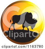 Clipart Of A Silhouetted Buffalo Icon Royalty Free Vector Illustration by Lal Perera