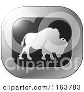 Clipart Of A Silver Buffalo Icon Royalty Free Vector Illustration by Lal Perera