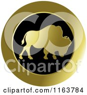 Clipart Of A Gold Buffalo Icon 2 Royalty Free Vector Illustration by Lal Perera