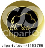 Clipart Of A Gold Buffalo Icon Royalty Free Vector Illustration by Lal Perera