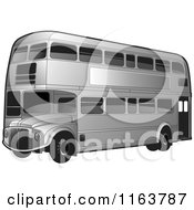 Clipart Of A Silver Double Decker Bus With Tinted Windows Royalty Free Vector Illustration