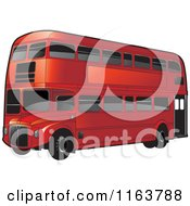 Clipart Of A Red Double Decker Bus With Tinted Windows Royalty Free Vector Illustration