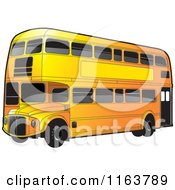 Clipart Of An Orange Double Decker Bus With Tinted Windows Royalty Free Vector Illustration