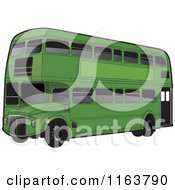 Clipart Of A Green Double Decker Bus With Tinted Windows Royalty Free Vector Illustration