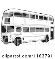 Clipart Of A Black And White Double Decker Bus With Tinted Windows Royalty Free Vector Illustration