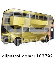 Clipart Of A Gold Double Decker Bus With Tinted Windows Royalty Free Vector Illustration