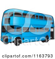 Clipart Of A Blue Double Decker Bus With Tinted Windows Royalty Free Vector Illustration