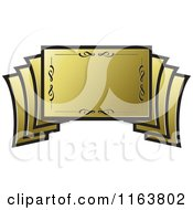 Clipart Of A Golden Banner 2 Royalty Free Vector Illustration