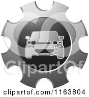 Clipart Of A Silver Car And Gear Icon Royalty Free Vector Illustration by Lal Perera