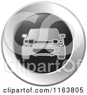 Clipart Of A Silver Car Icon Royalty Free Vector Illustration by Lal Perera