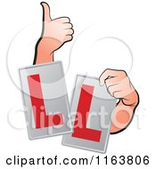 Clipart Of Hands And Ll Signs Royalty Free Vector Illustration