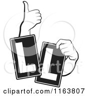 Clipart Of Black And White Hands And Ll Signs Royalty Free Vector Illustration by Lal Perera