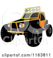Clipart Of A Yellow Dune Buggy Royalty Free Vector Illustration